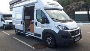 Campervan with the side door open